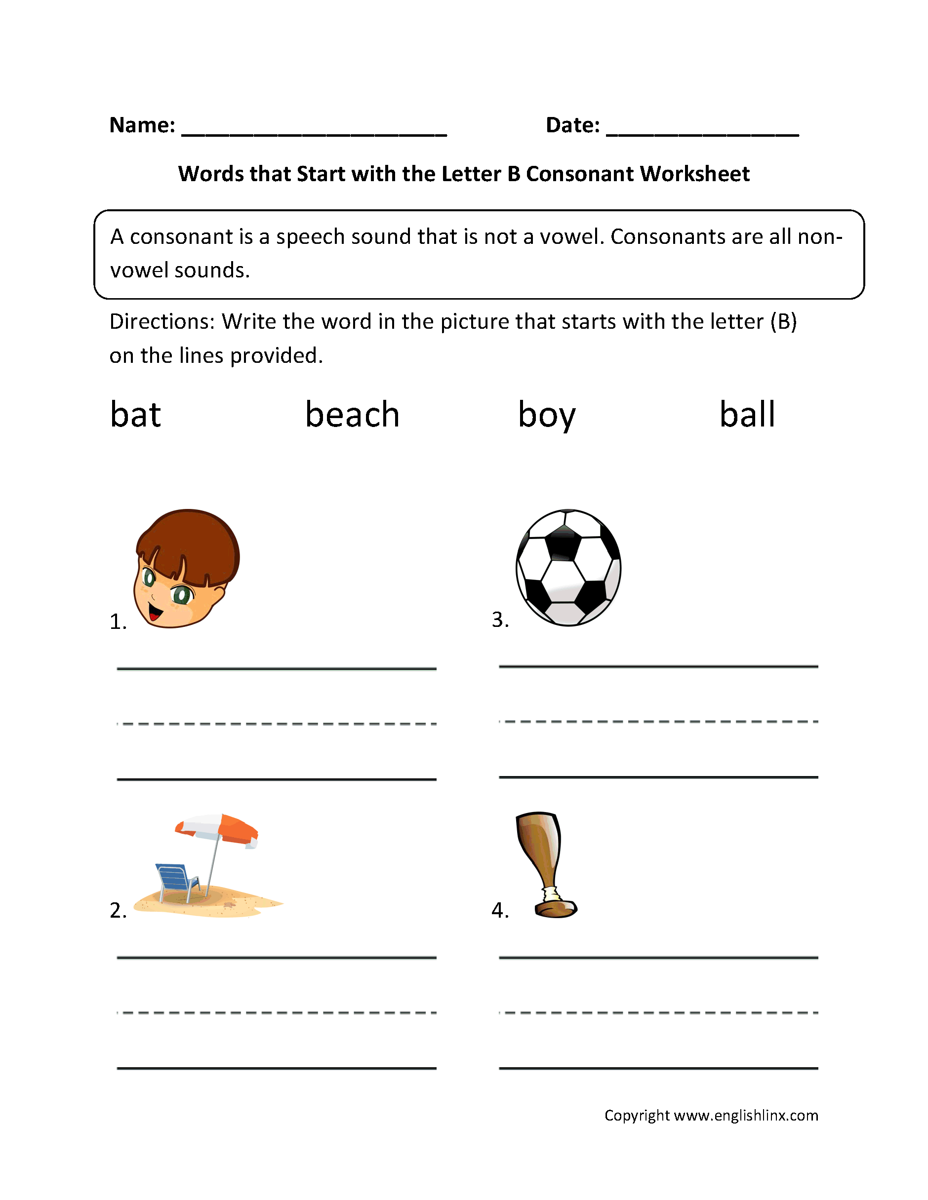 words that begin with the letter b phonics worksheets consonant worksheets 25717