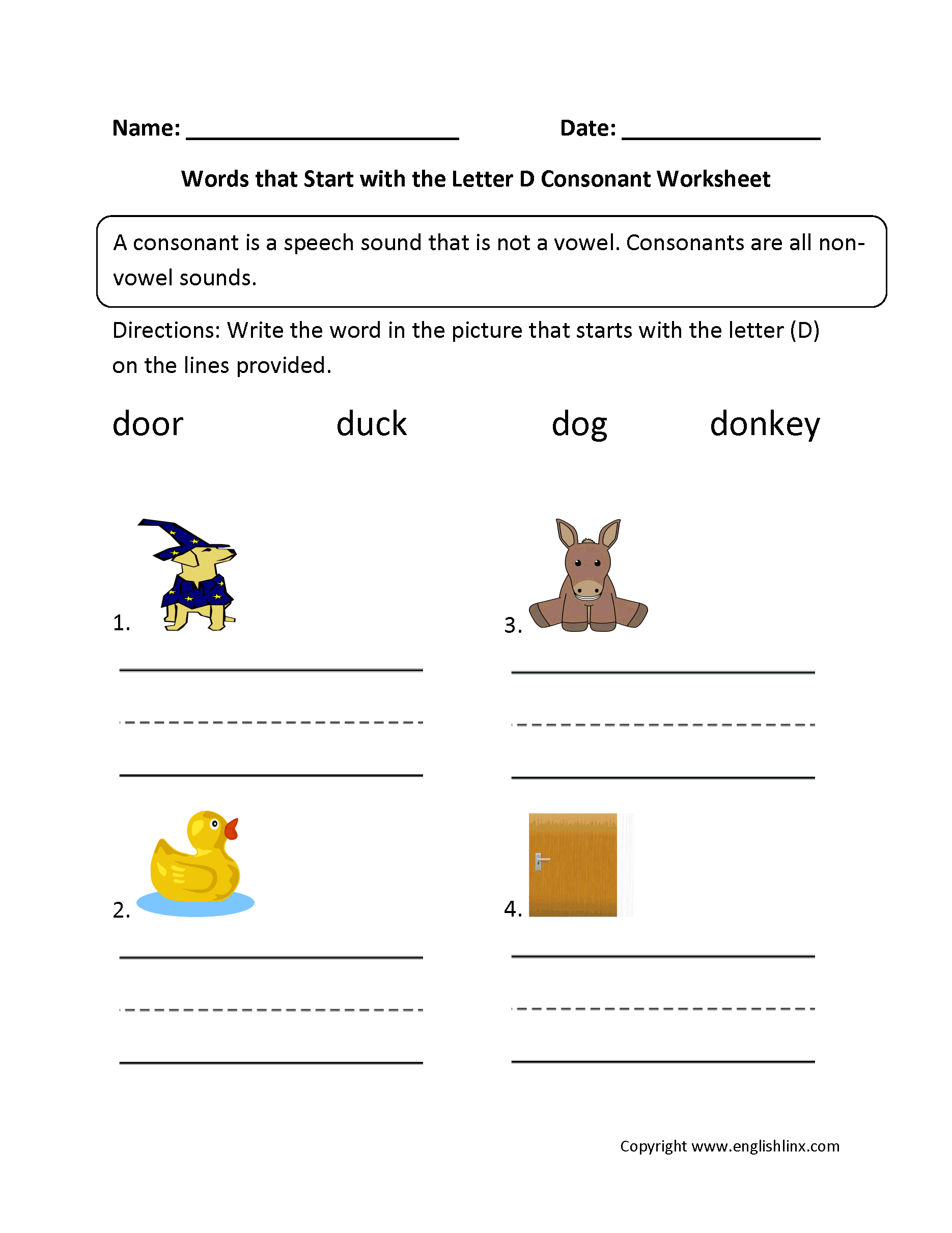 words that start with the letter d phonics worksheets consonant worksheets 25730 | Words Start Letter D Consonant Worksheet