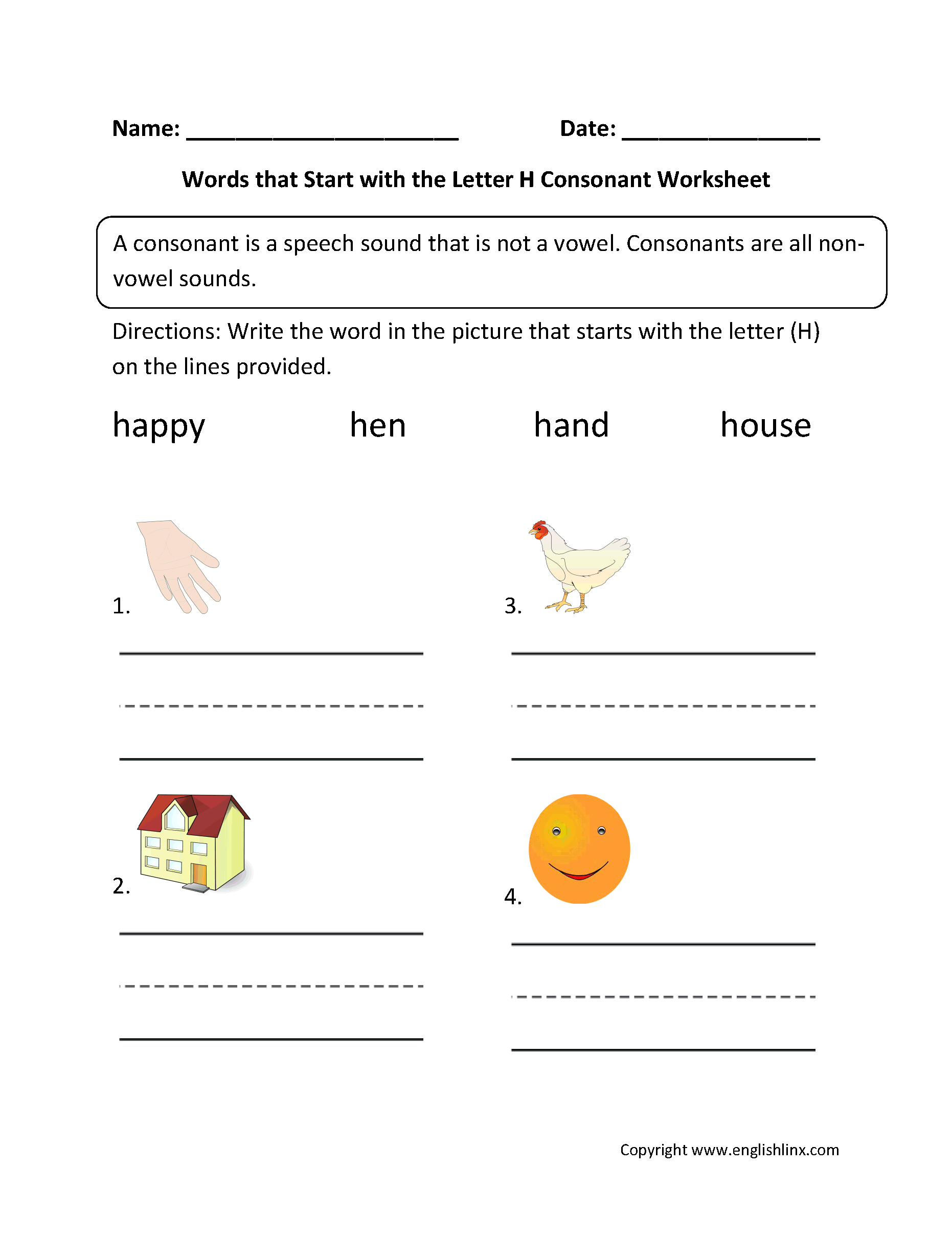 Color The Ending Consonant Images Blends Activity Kindergarten St Grade Worksheet