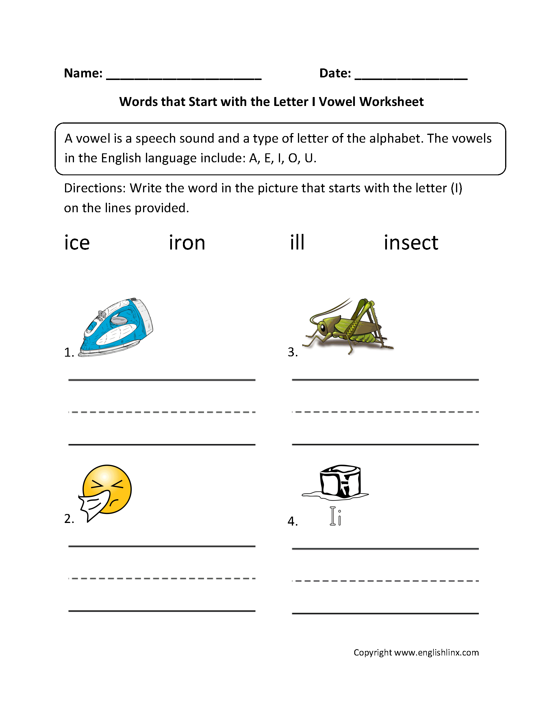 words that begin with the letter i vowel worksheets general vowel worksheets 25719 | Words Start Letter I Vowel Worksheet