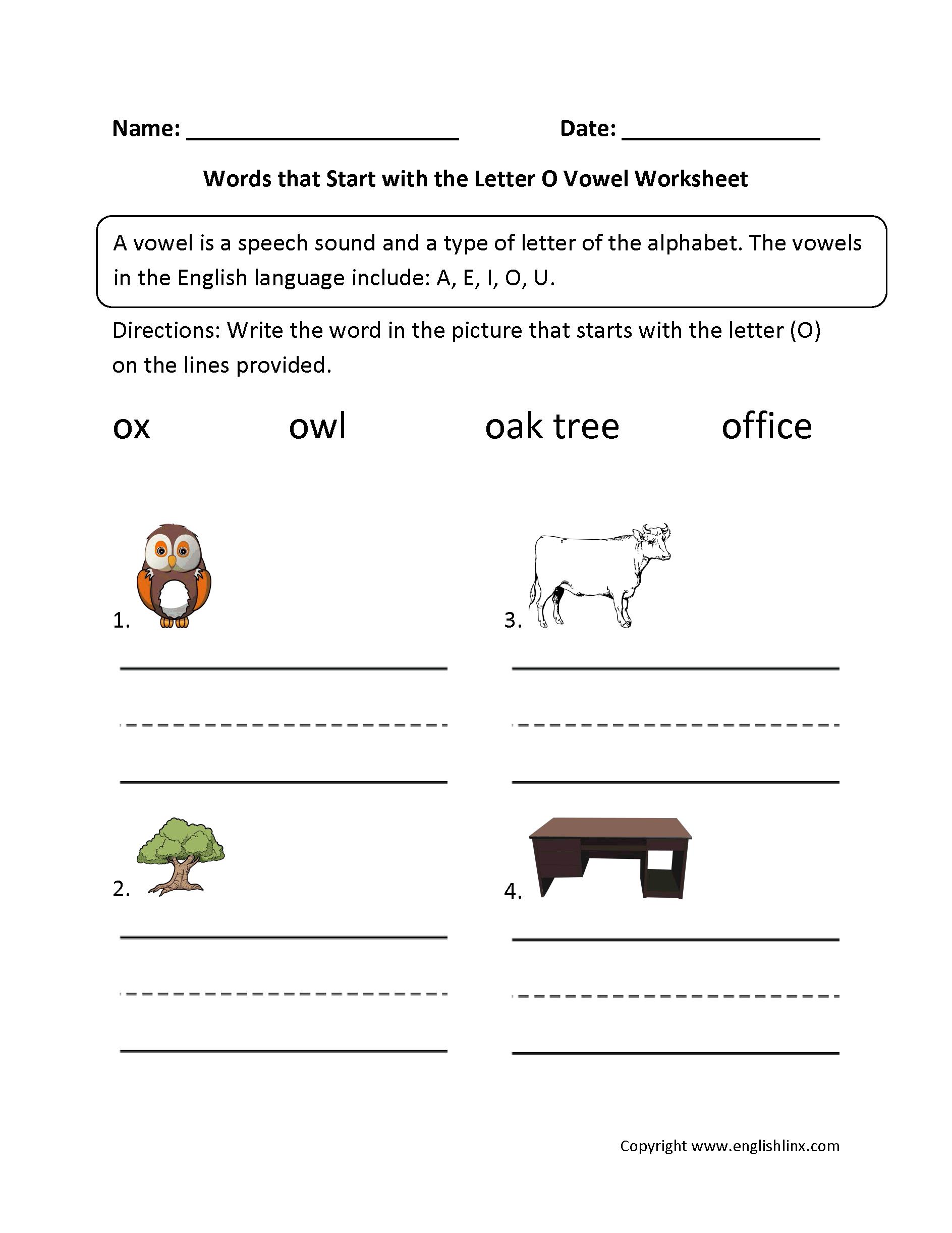 Worksheet Vowel Letters Worksheet vowel worksheets general words start letter o worksheets