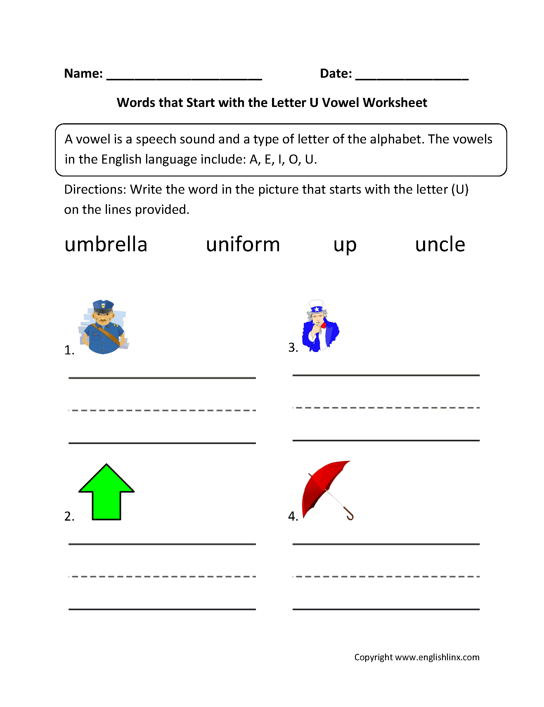 words that start with the letter u vowel worksheets general vowel worksheets 25739 | Words Start Letter U Vowel Worksheet