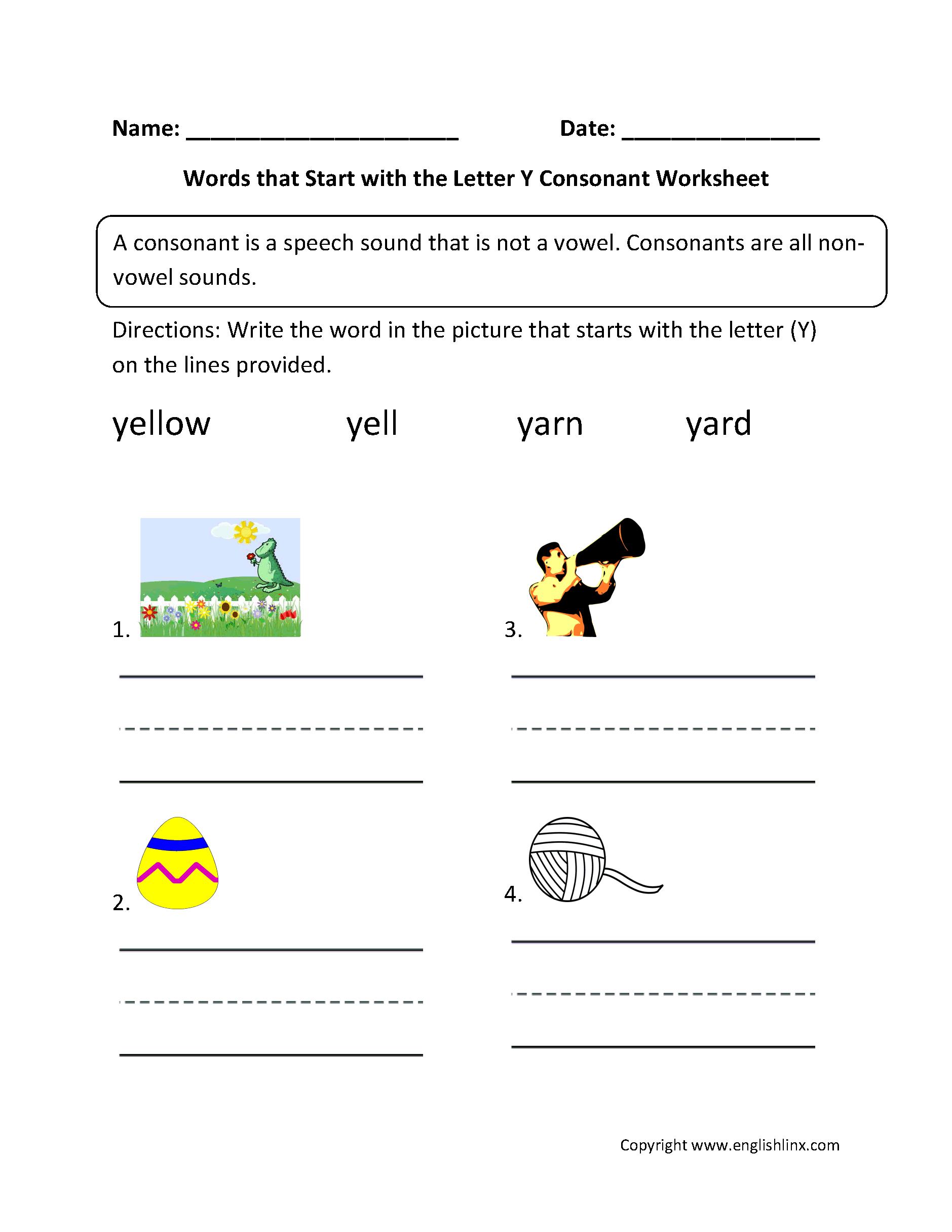 Uncategorized Letter Y Worksheet phonics worksheets consonant words start letter y worksheets