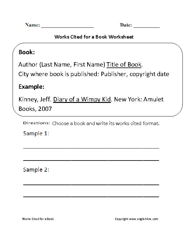3rd Grade social studies 3rd grade worksheets : Englishlinx.com | Works Cited Worksheets