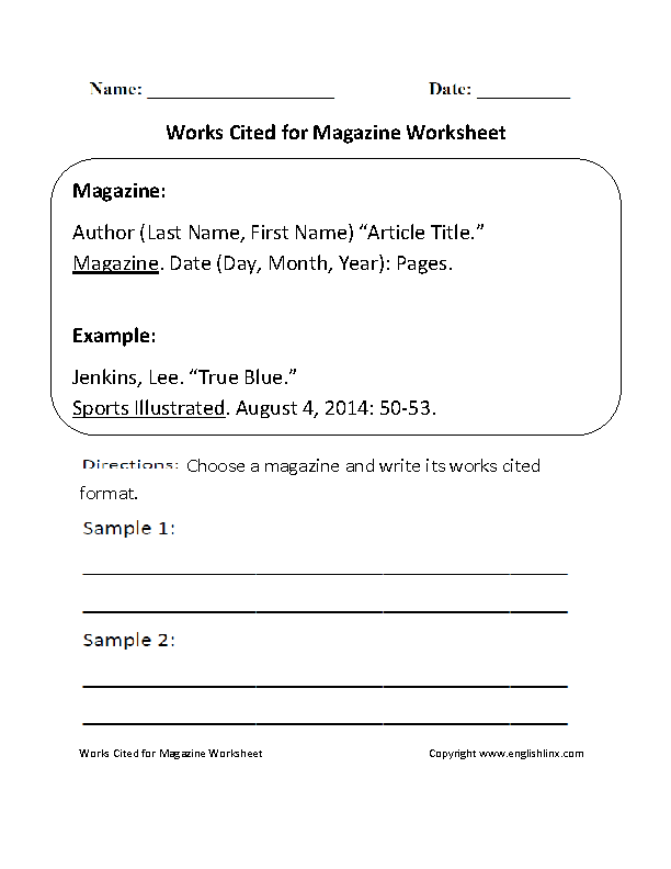 Englishlinx.com | Works Cited Worksheets