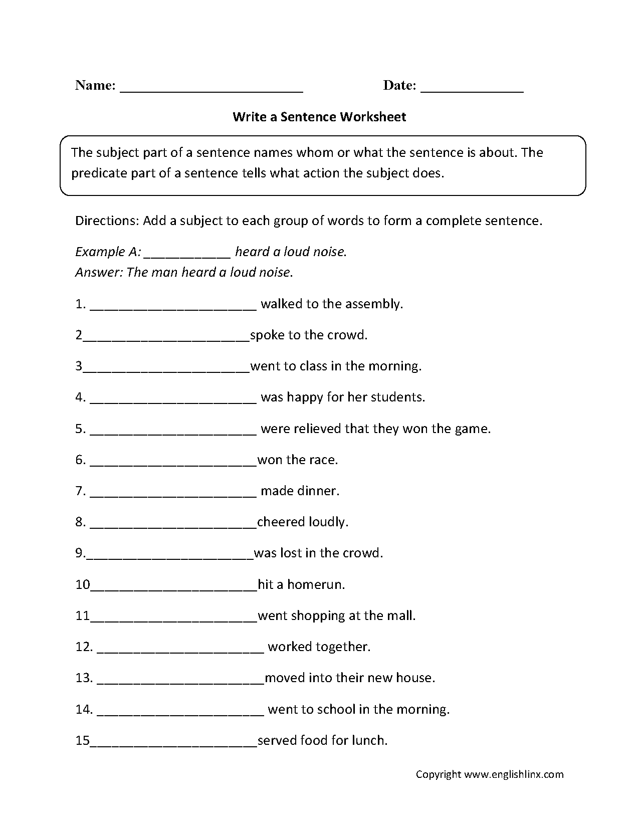 Sentence Structure Worksheets – Writing Sentences Worksheets