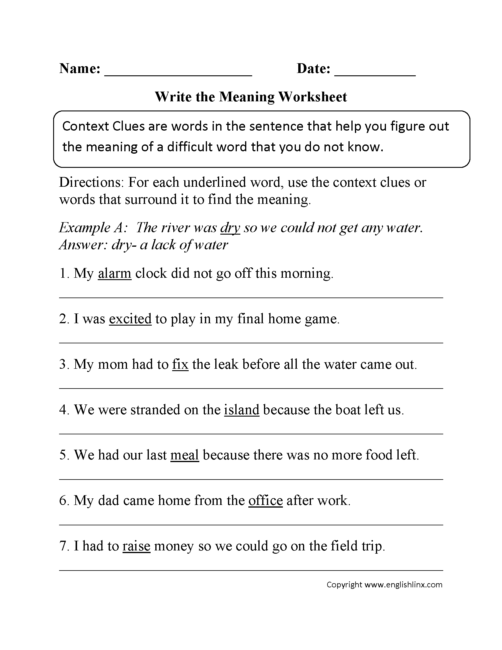 Printables 6th Grade Vocabulary Worksheets reading worksheets context clues worksheet