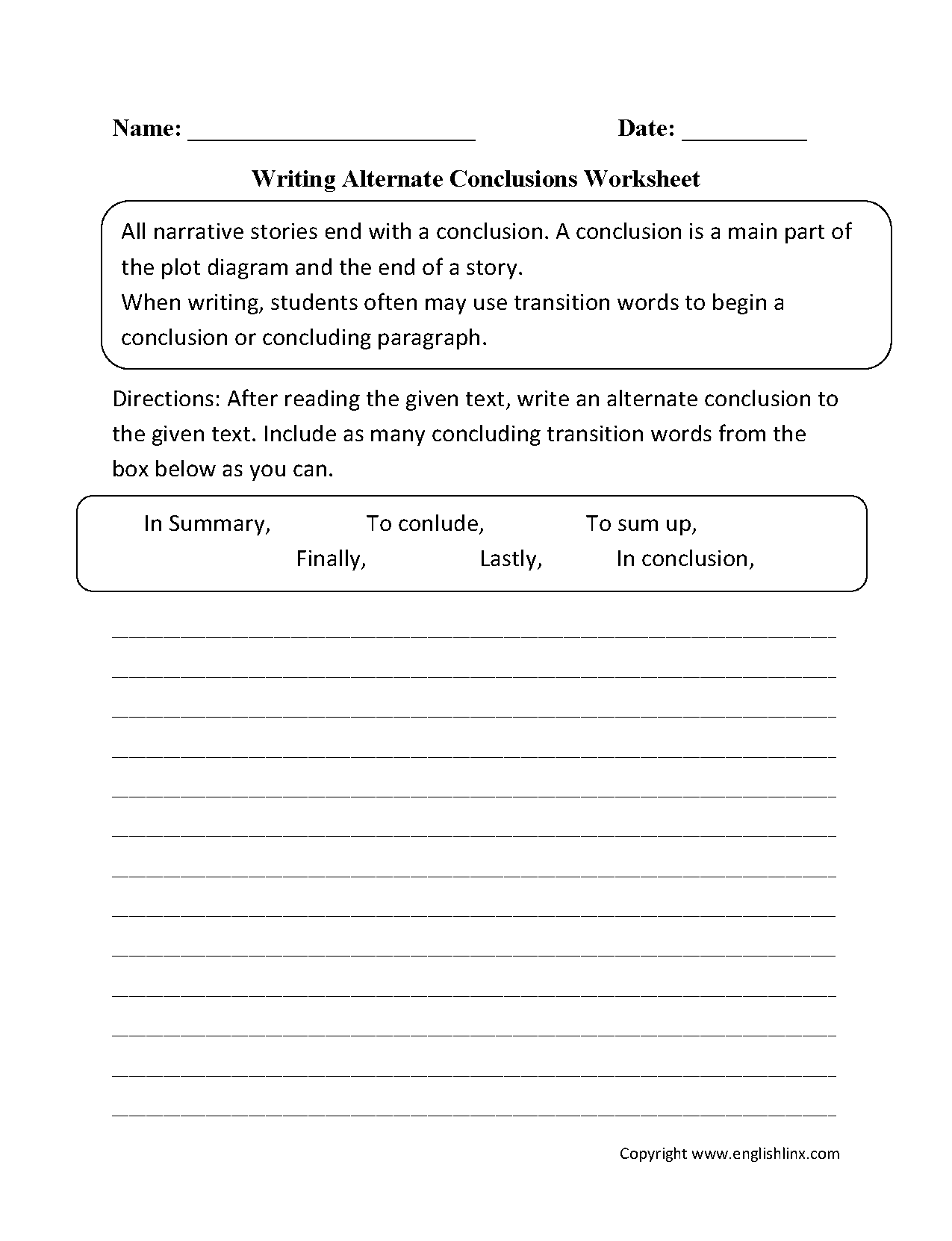 Uncategorized Writing Worksheets For 3rd Grade englishlinx com writing conclusions worksheets alternate worksheets