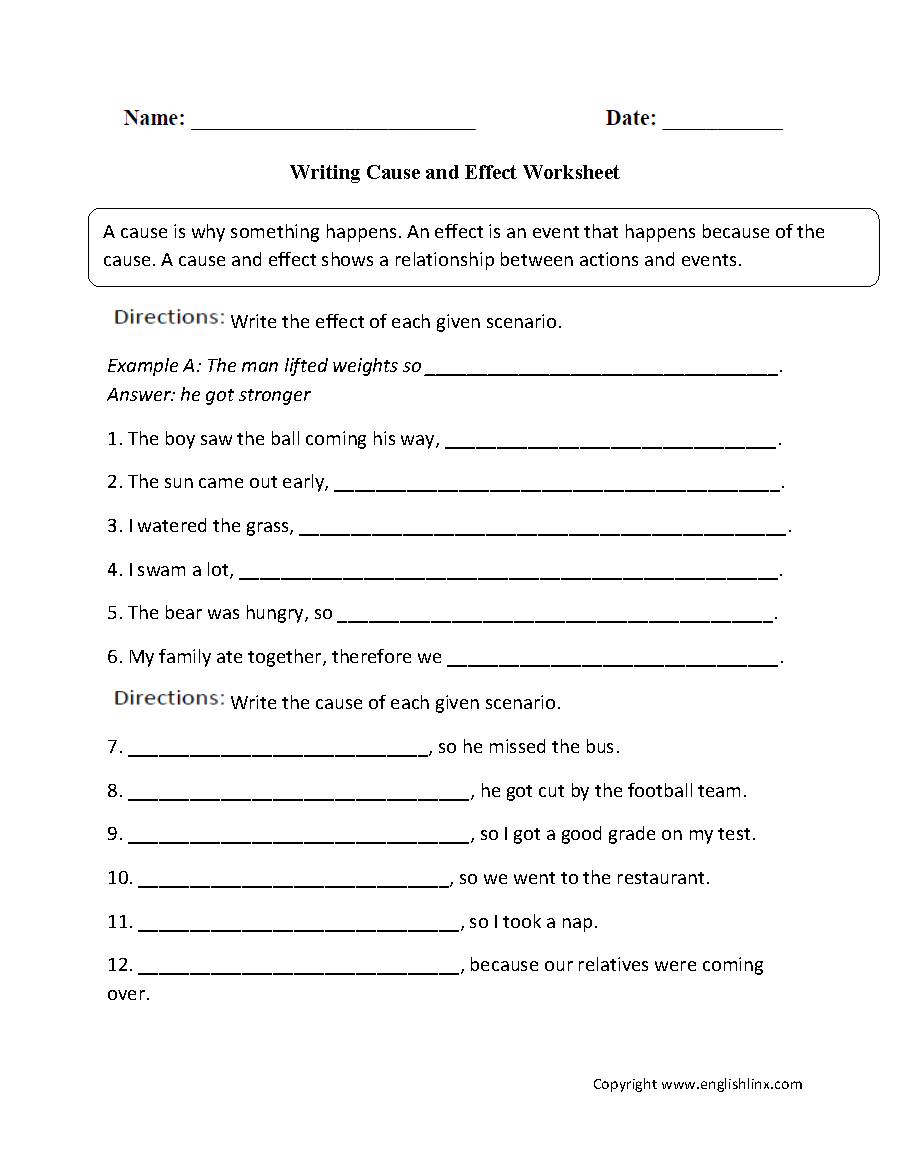 Cause and effect worksheets for 6th grade pdf
