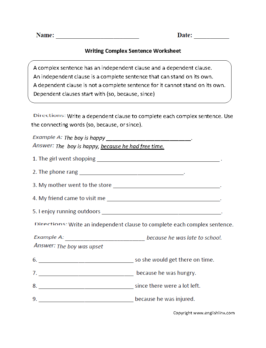 Writing Complex Sentence Worksheet