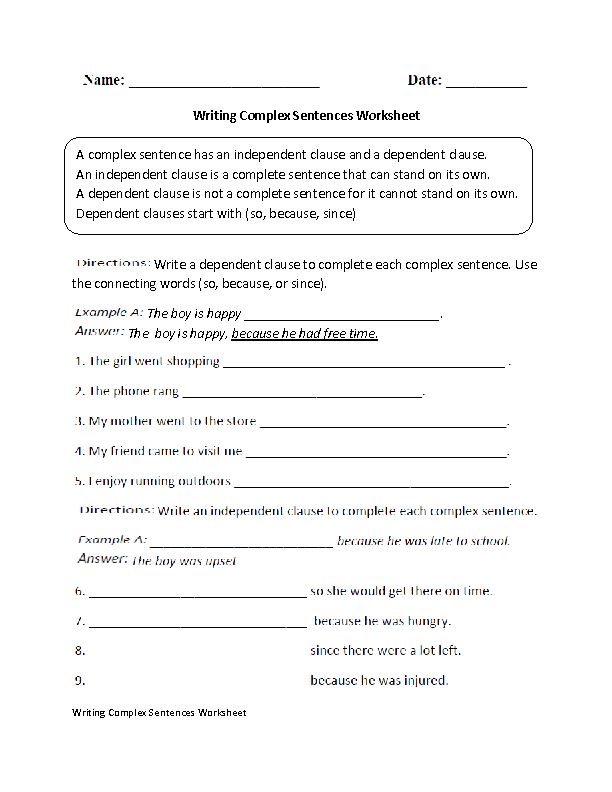 Writing Complex Sentences | Sentence Structure Worksheets