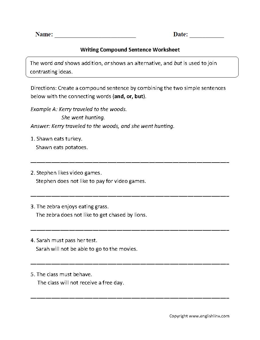Writing Compound Sentence Worksheet