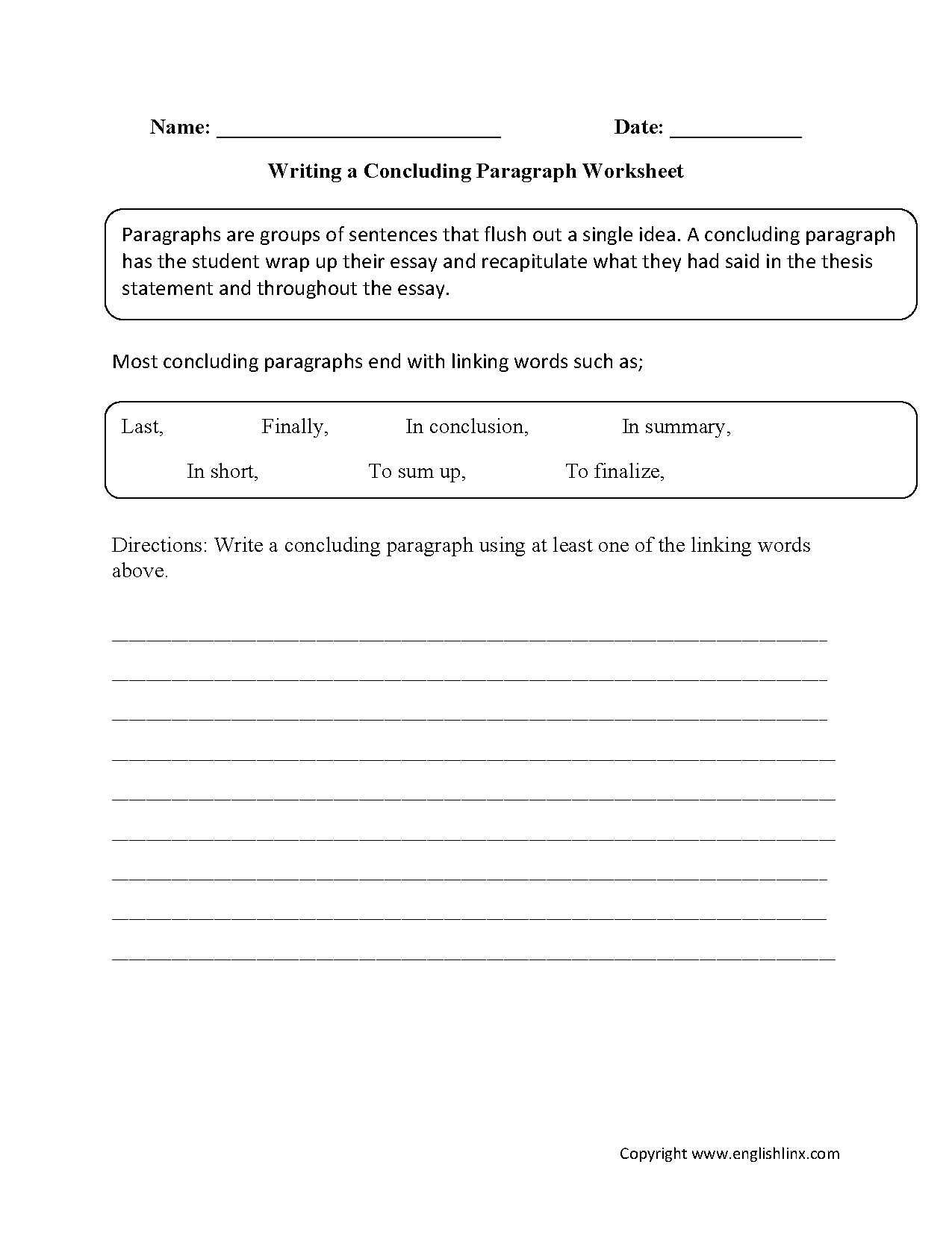Worksheets Paragraph Writing Worksheets writing worksheets paragraph concluding worksheets