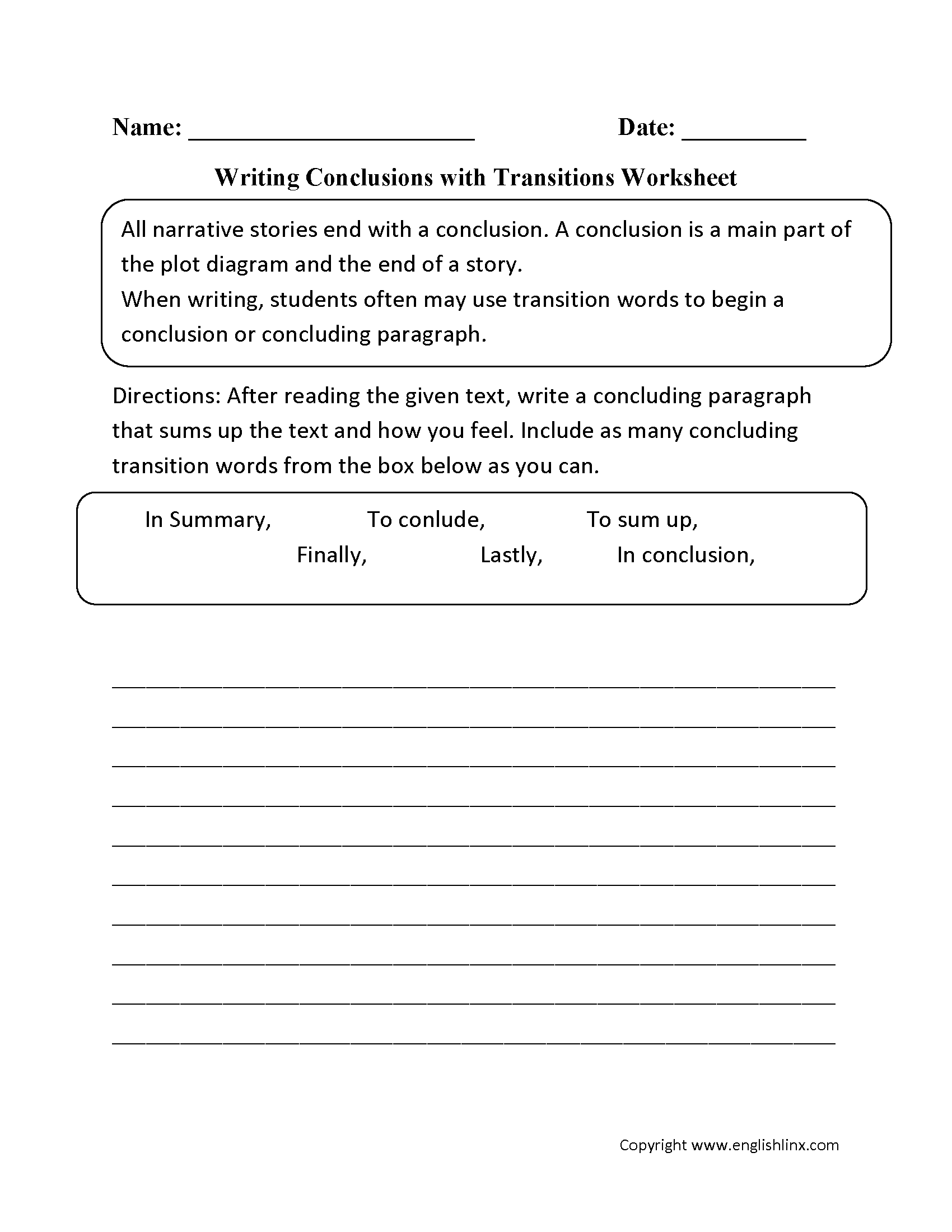 worksheet Writing Paragraphs Worksheets englishlinx com writing conclusions worksheets with transitions worksheets