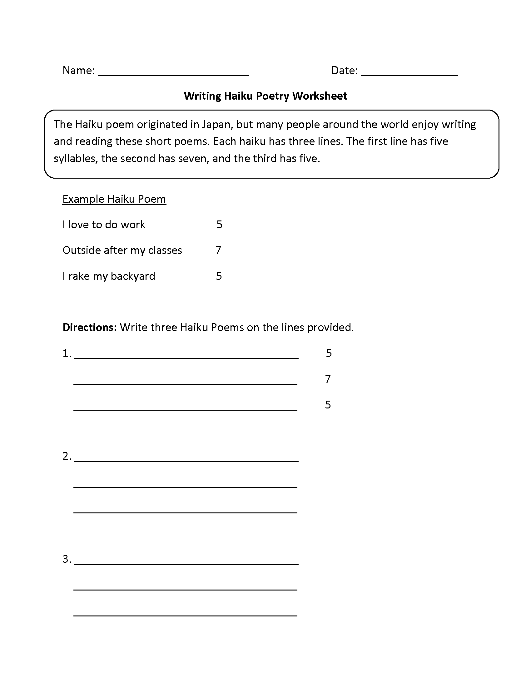 Worksheets Haiku Worksheet writing worksheets poetry haiku worksheets