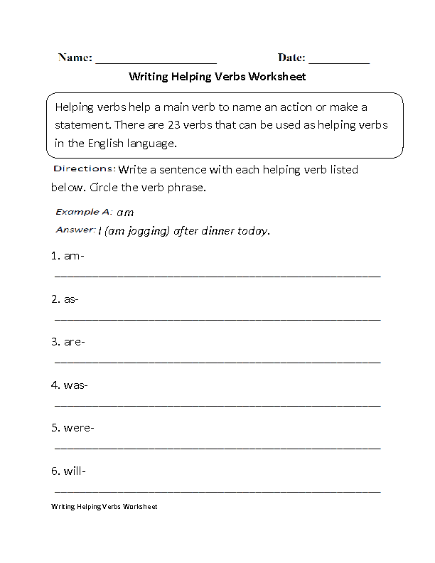 Helping Verbs Worksheets | Writing Helping Verbs Worksheet