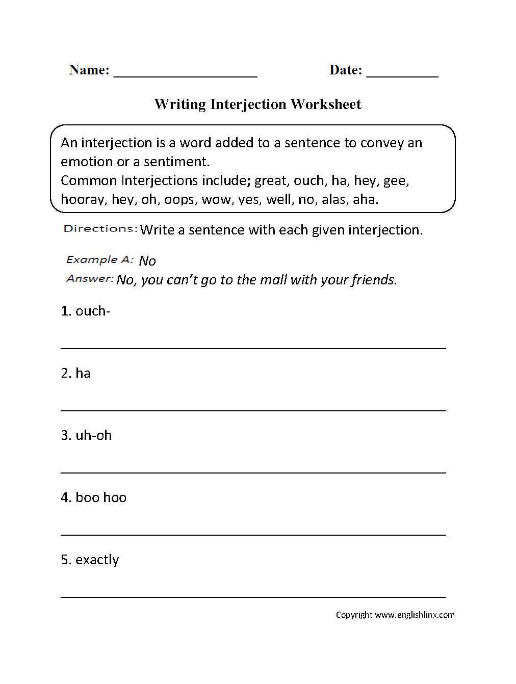 Worksheets Interjections Worksheet parts speech worksheets interjection beginner worksheets