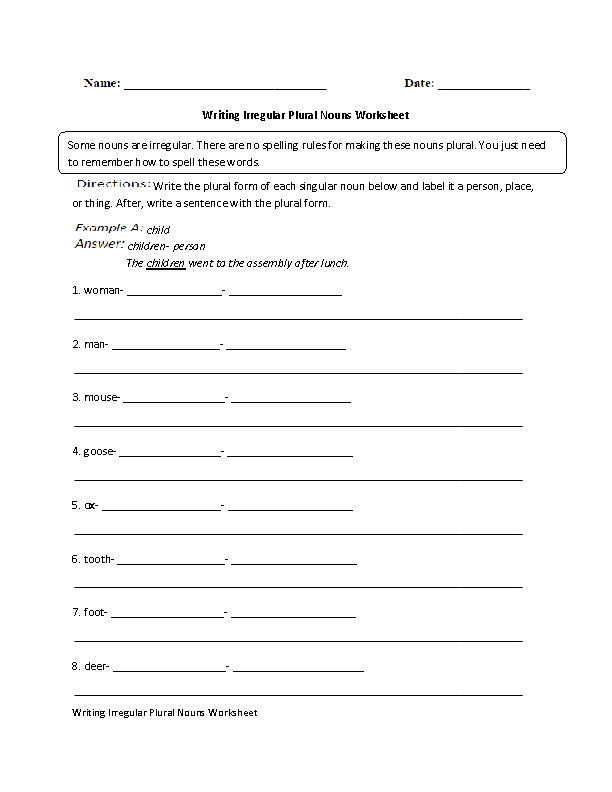 Nouns Worksheets Irregular Nouns Worksheets