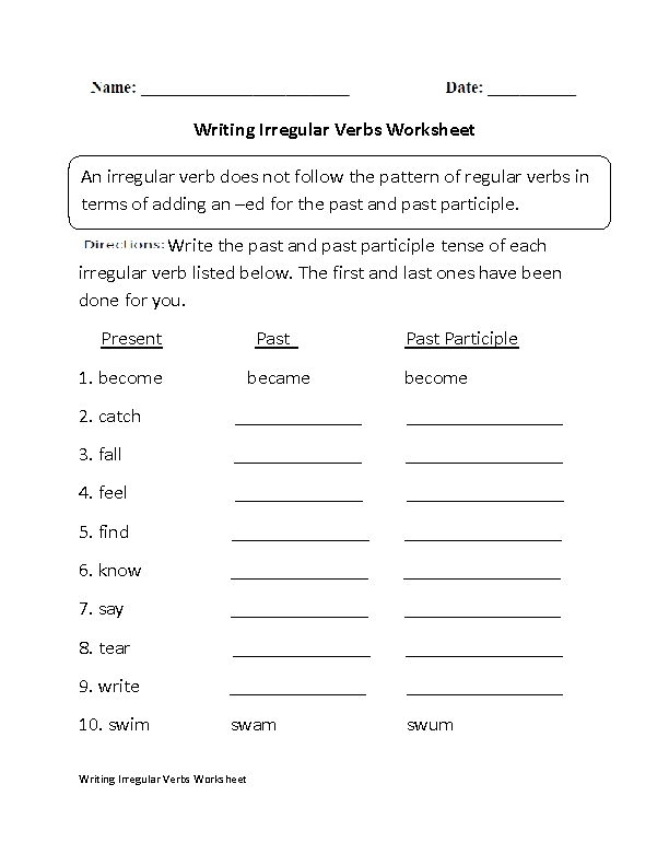 Verbs Worksheets – Irregular Past Tense Verbs Worksheet