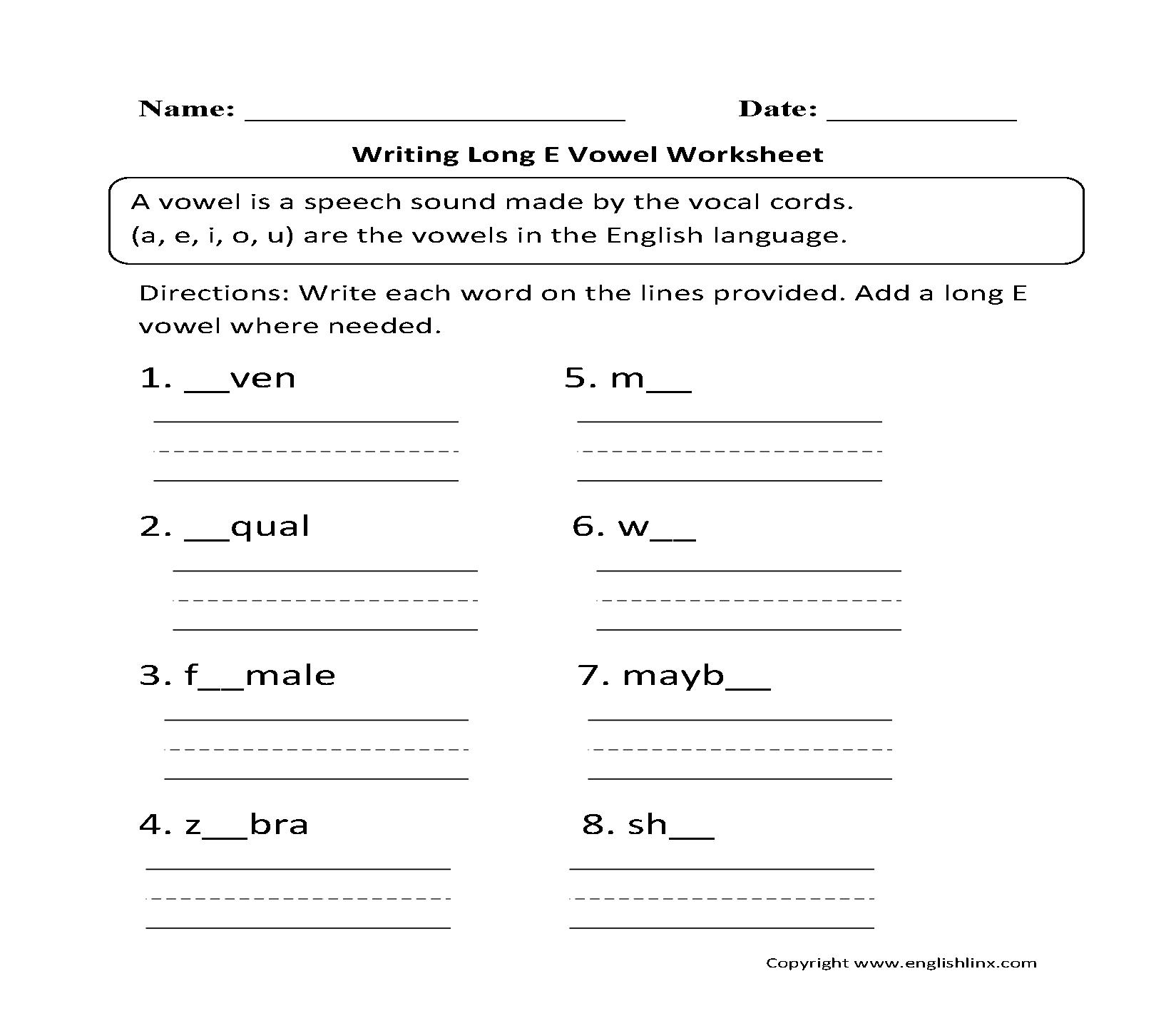 Vowel Worksheets – Long E Worksheet