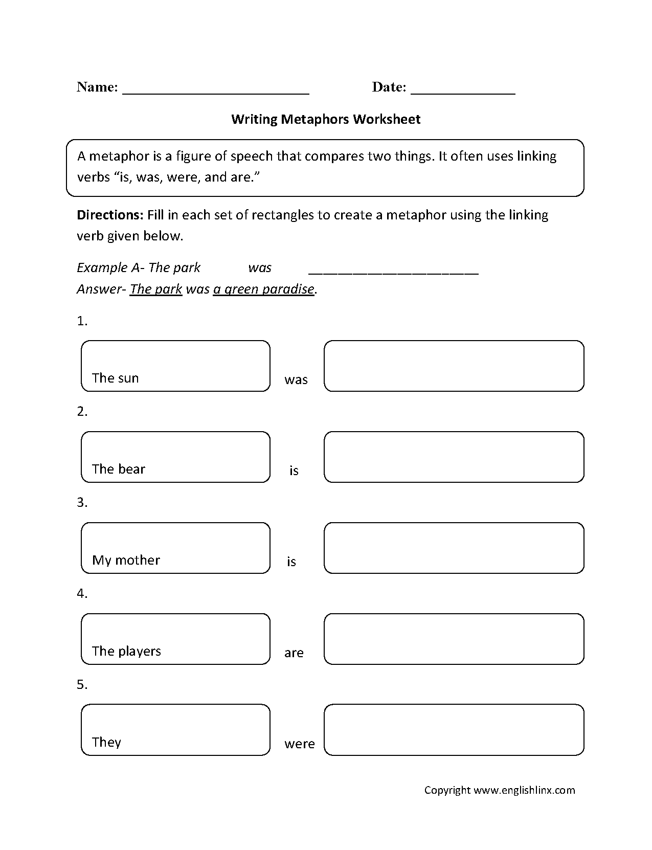 worksheet Similes And Metaphors Ks2 Worksheets englishlinx com metaphors worksheets grades k 5 worksheets