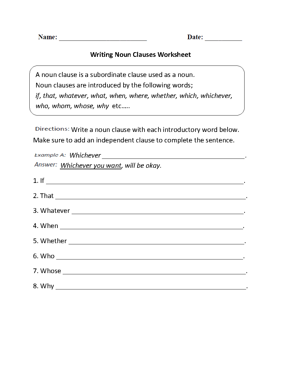 Worksheets Adjective Noun And Adverb Clauses Worksheet parts of a sentence worksheets clause writing noun clauses worksheets