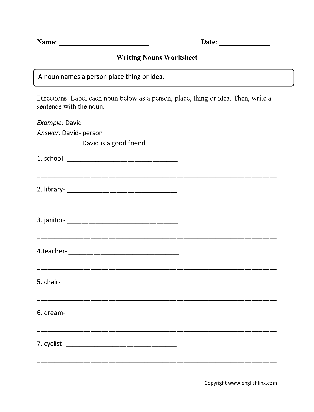 Nouns Worksheets | Regular Nouns Worksheets