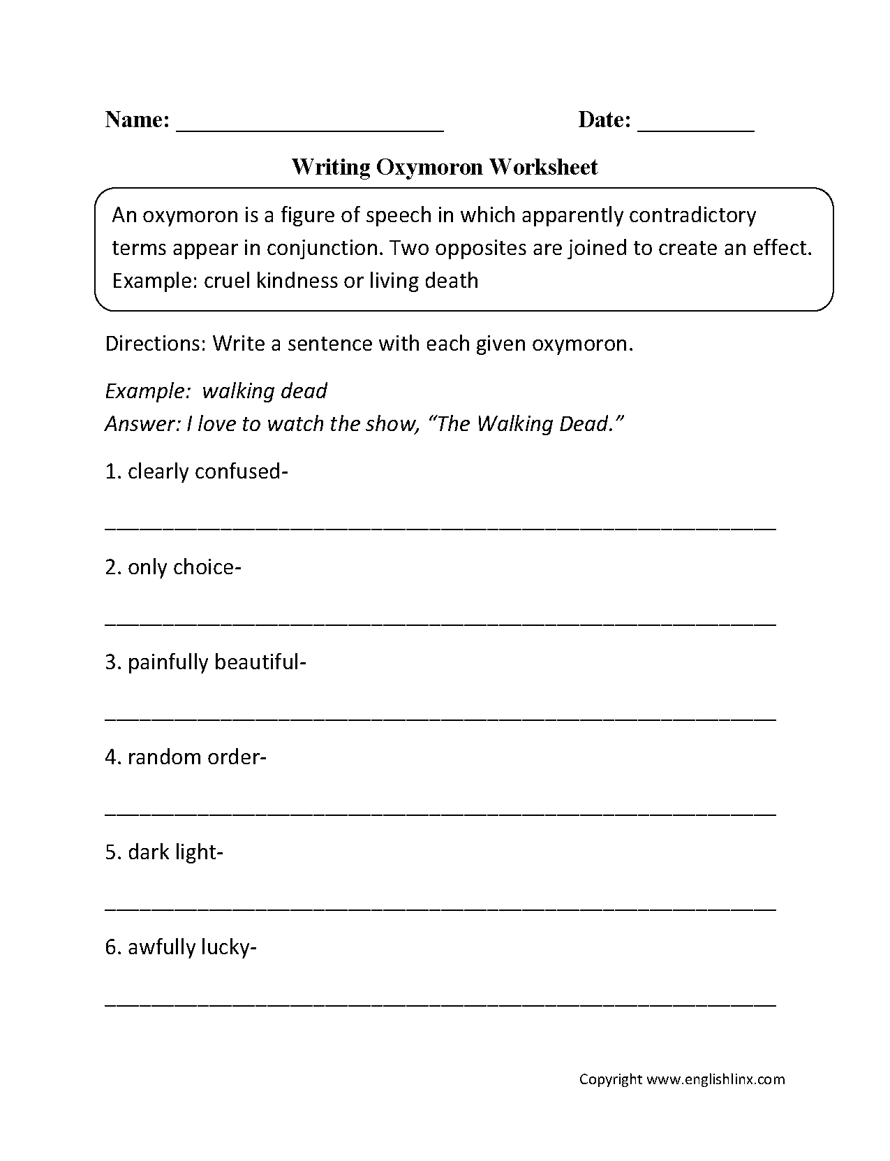 worksheet Oxymoron Worksheet figurative language worksheets oxymoron writing with worksheet word sounds onomatopoeia worksheet