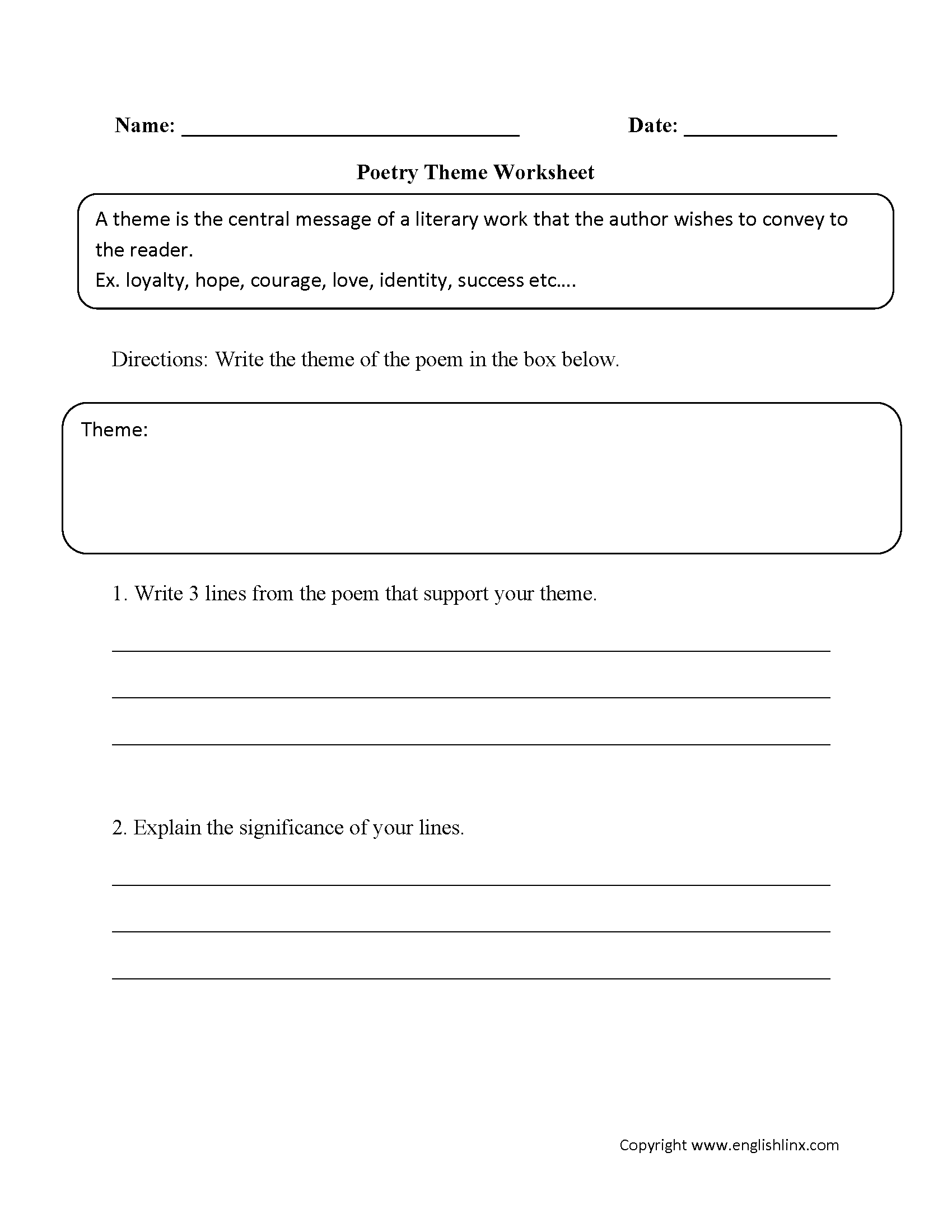 theme worksheets 4th grade laveyla – Theme Worksheets