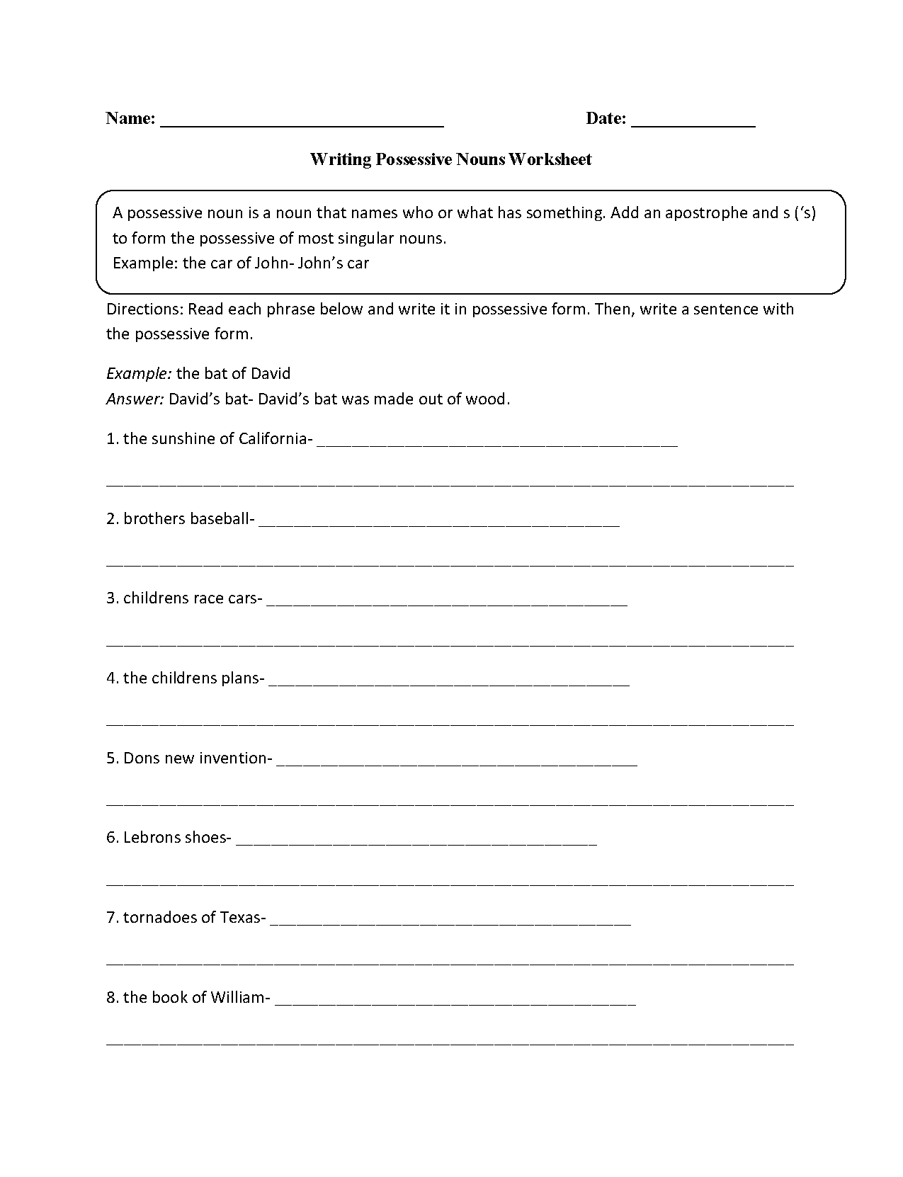 worksheet Noun Worksheets 4th Grade nouns worksheets possessive worksheet