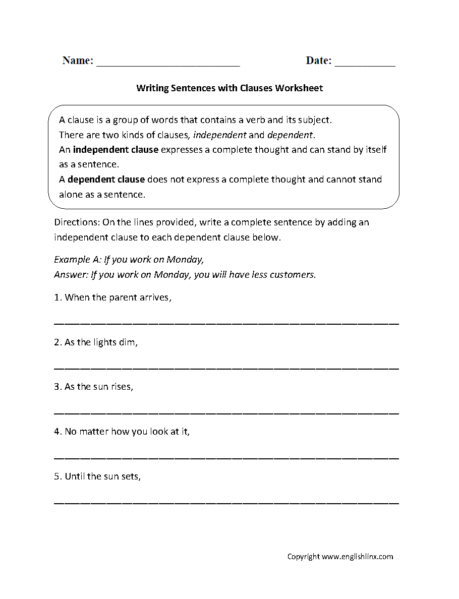 Free Worksheet Independent And Dependent Clauses Worksheets englishlinx com clauses worksheets grades 6 8 worksheets