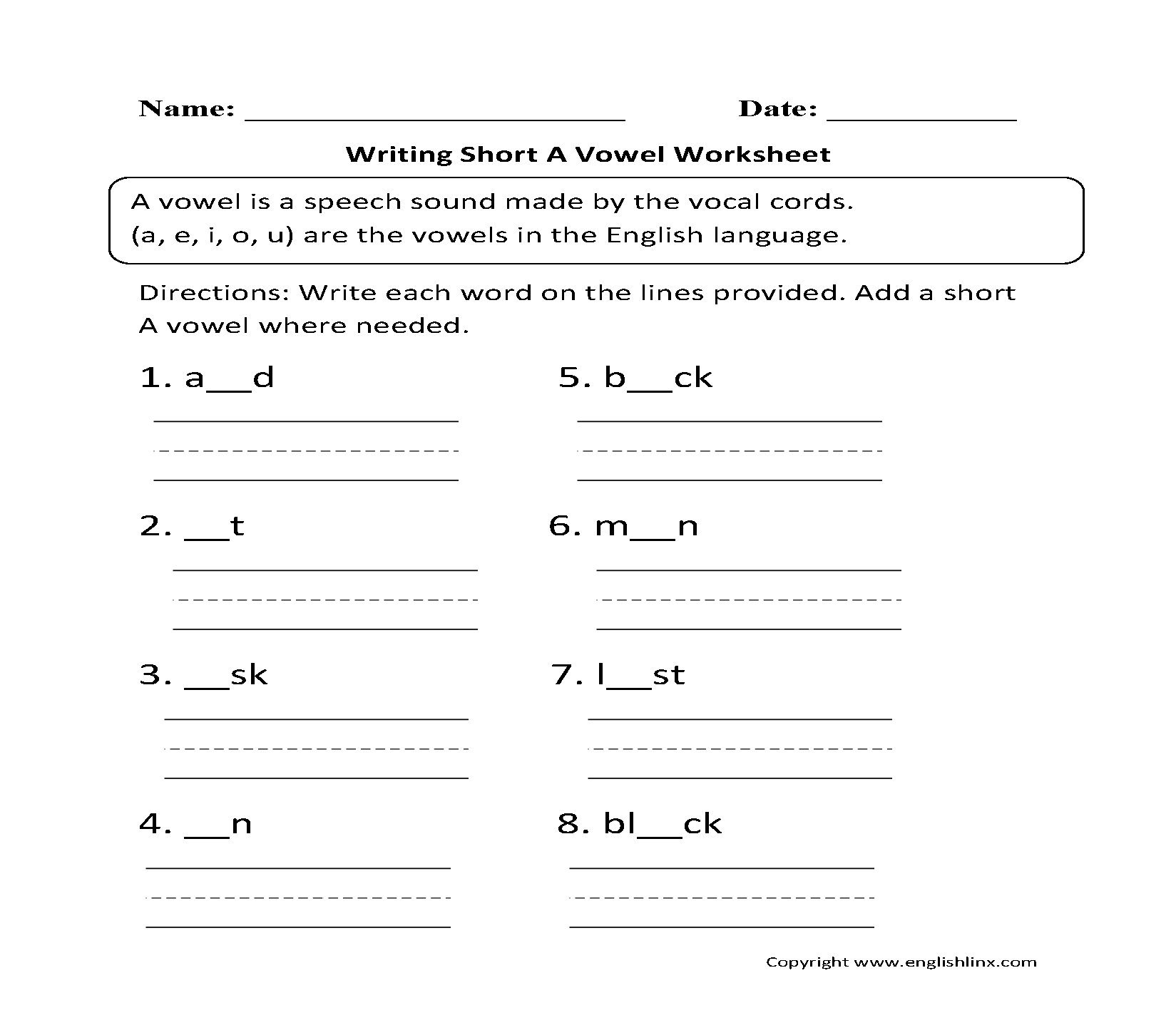 Vowel Worksheets Short And Long Vowel Worksheets