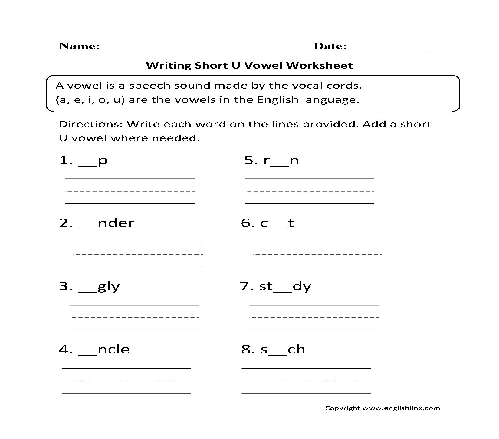 Uncategorized Short U Worksheets vowel worksheets short and long writing u worksheets