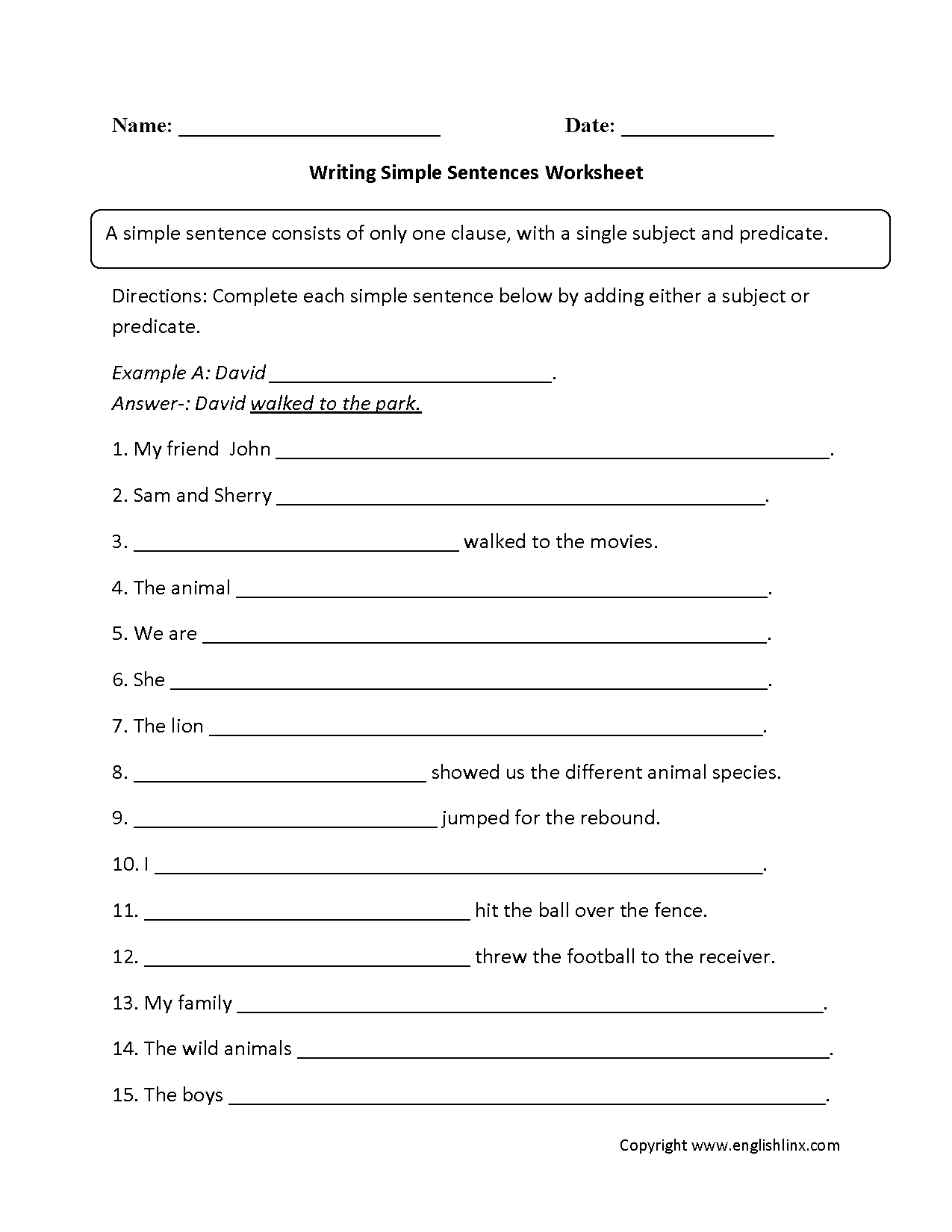 Simple Sentences Worksheets – Complete Sentence Worksheet