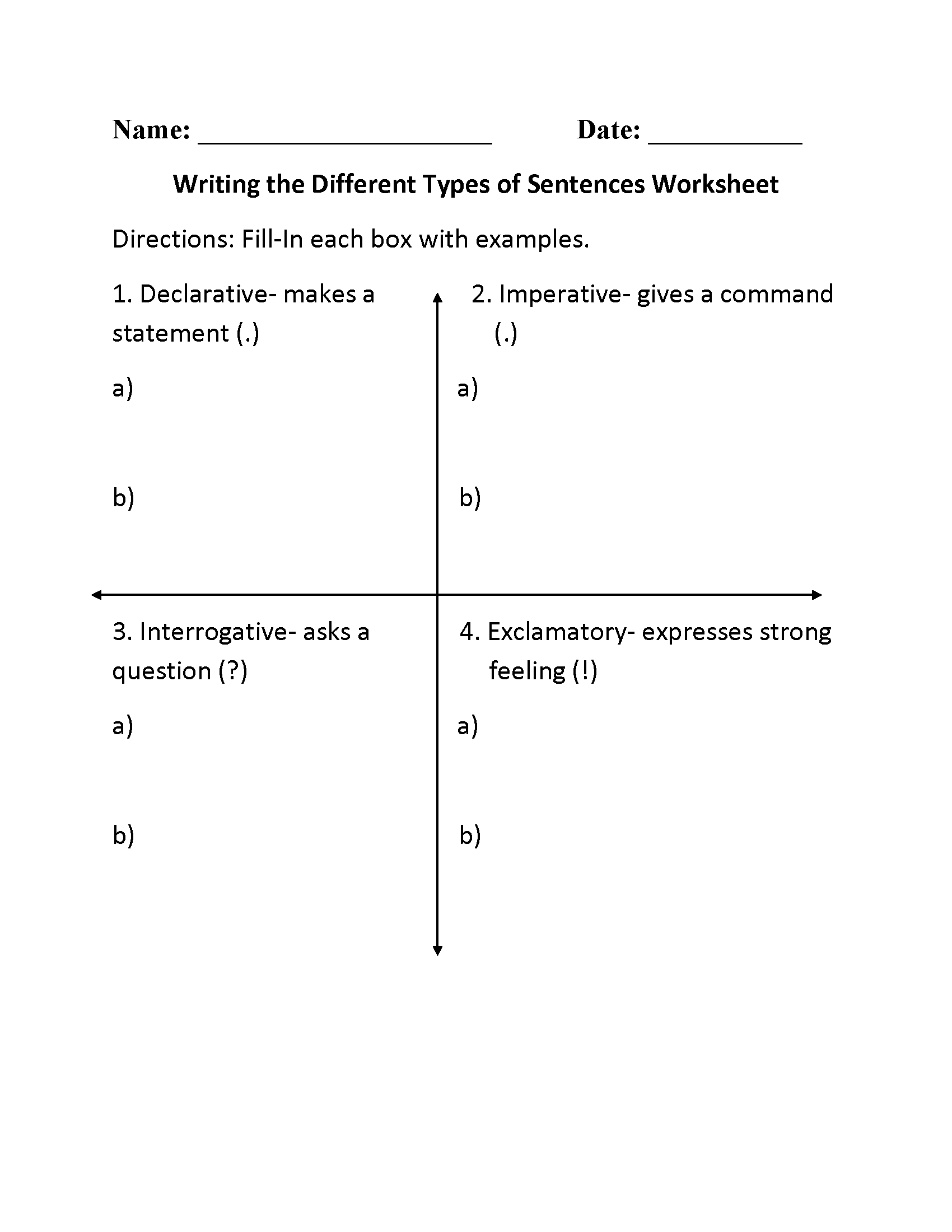 Sentences Worksheets – Sentence Type Worksheets