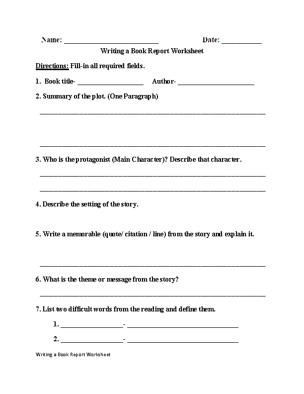 Grades 9 12 Writing Worksheets