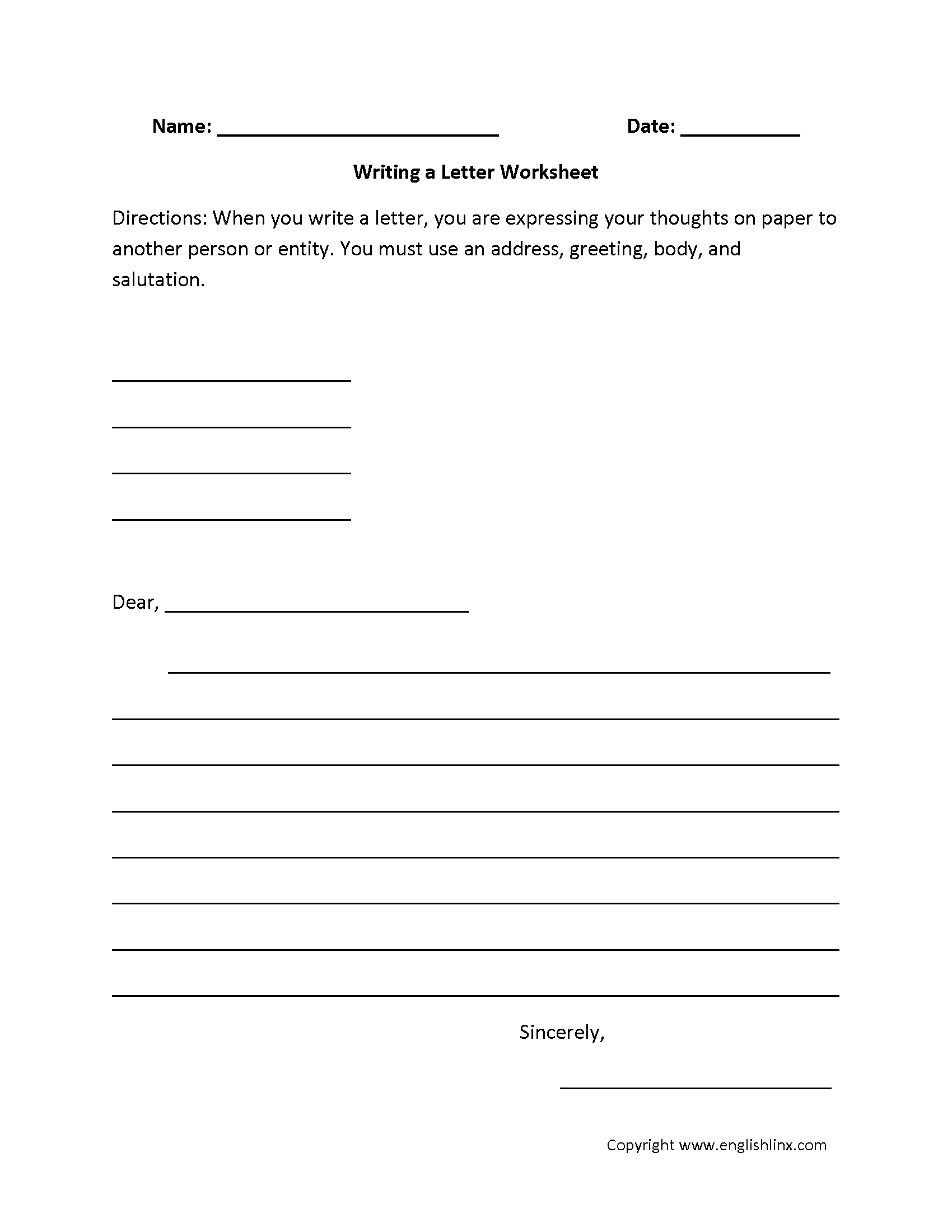 worksheet Third Grade Writing Worksheets englishlinx com writing worksheets a letter worksheet