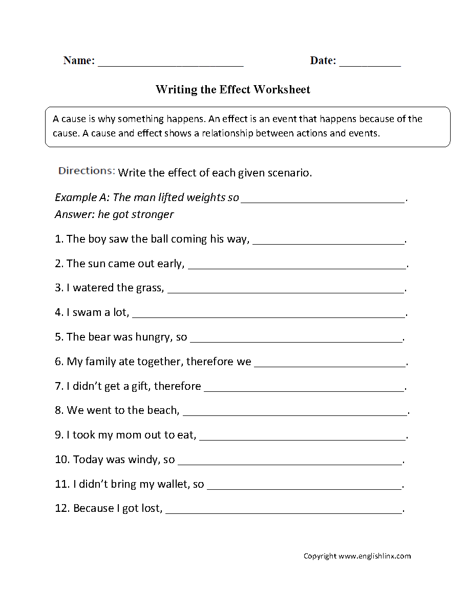 Reading Worksheets Cause And Effect