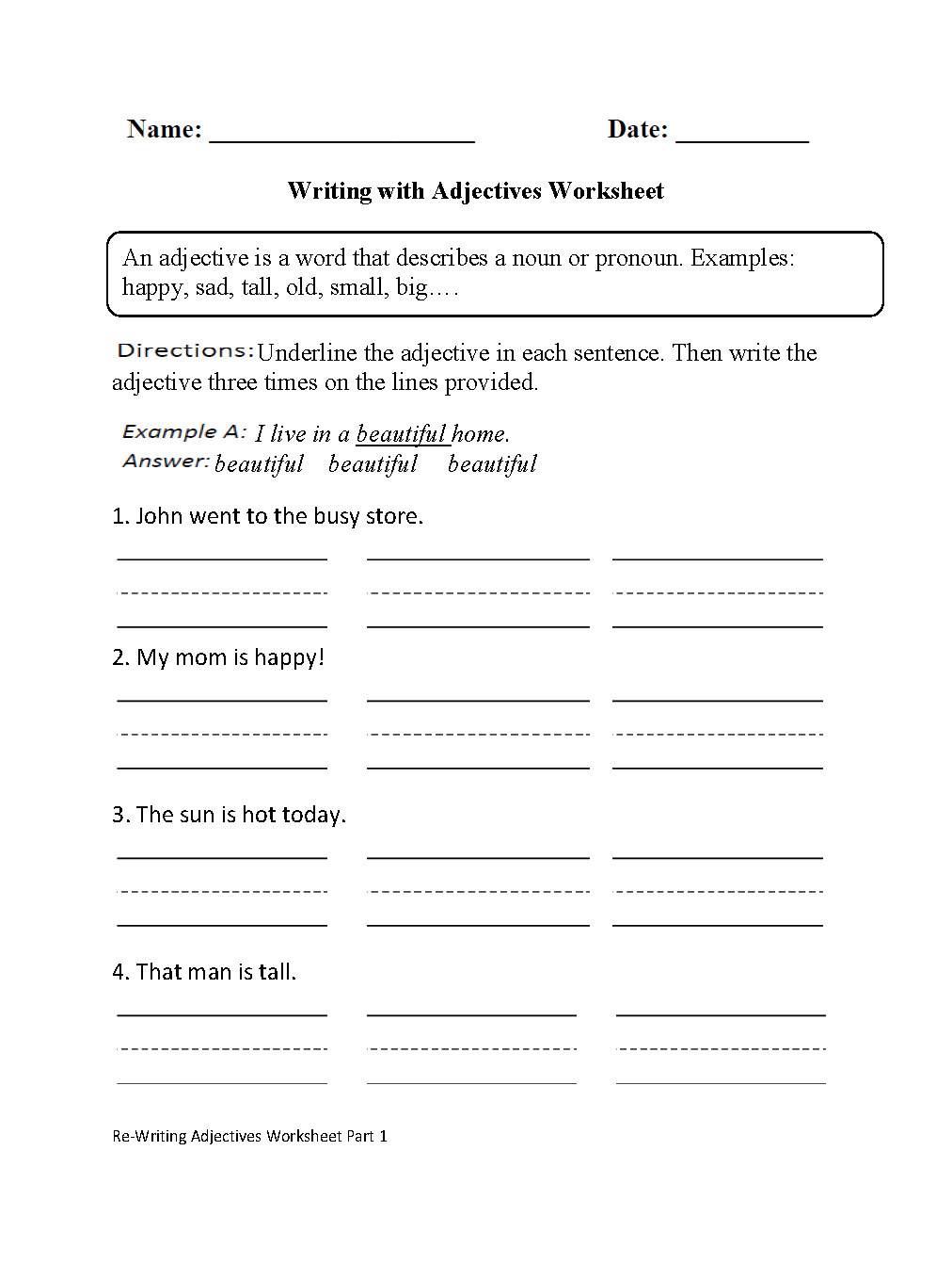 Parts Speech Worksheets Adjective Worksheets