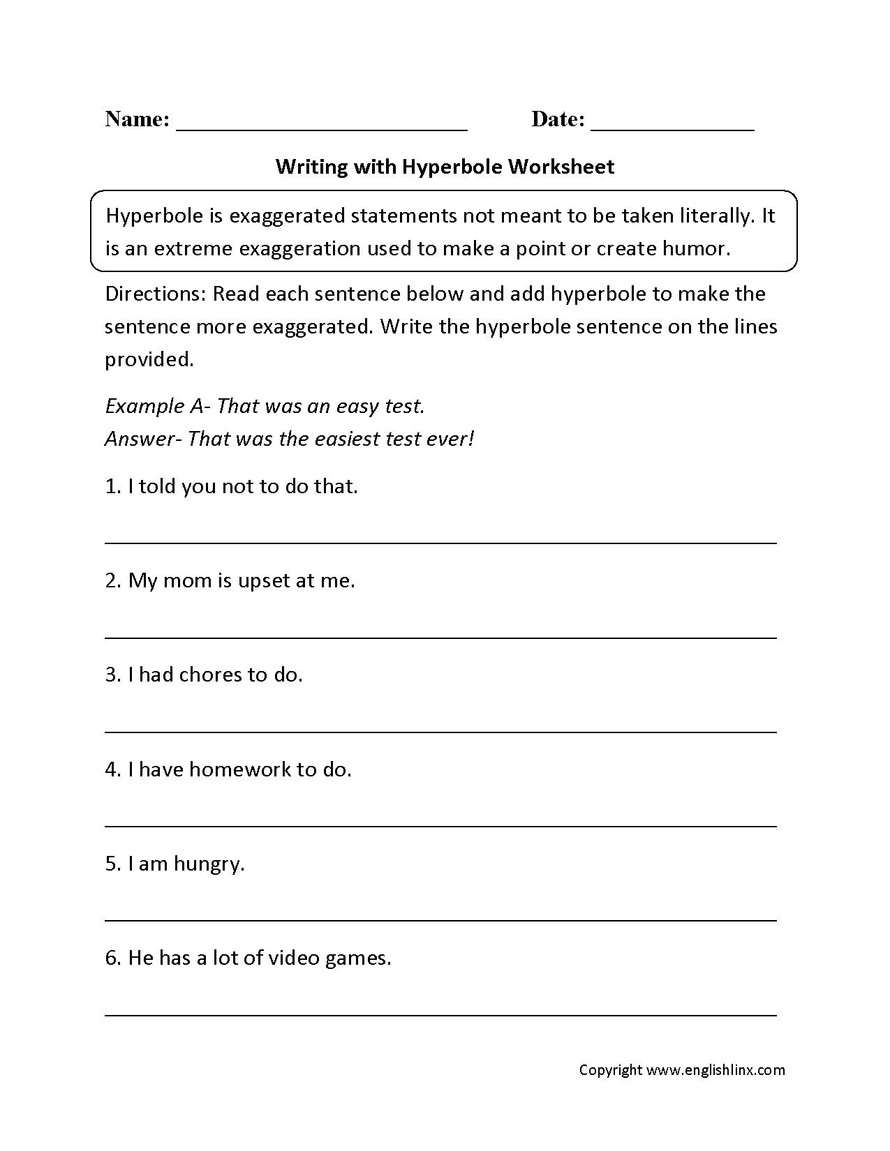 Figurative Language Worksheets | Hyperbole Worksheets