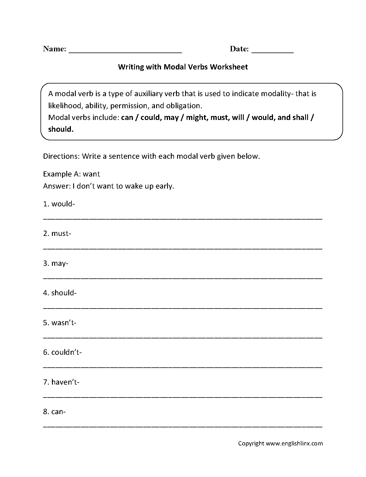 Verbs Worksheets Modal Verbs Worksheets