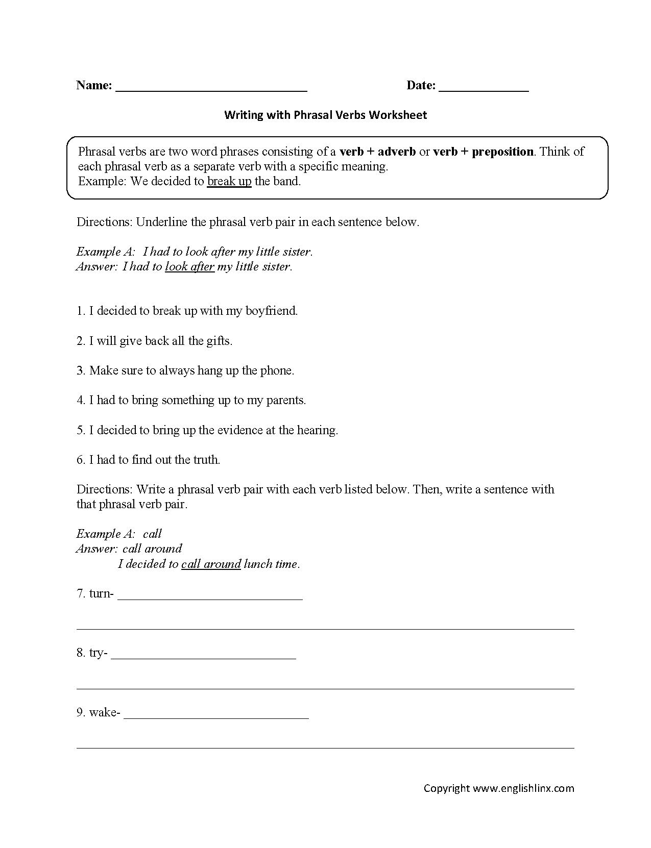 Parts Speech Worksheets : Verb Worksheets