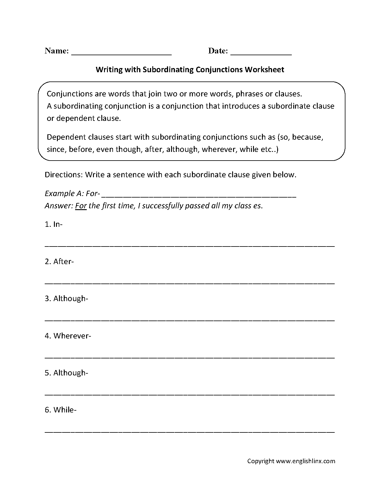 Conjunctions Worksheets – Subordinate Clauses Worksheet