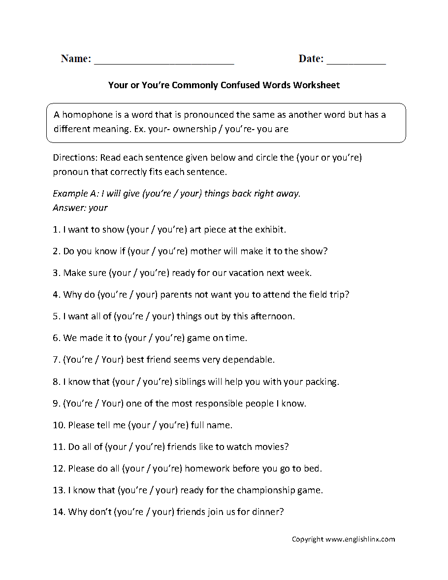 Commonly Confused Words Worksheets Your And Youre Commonly