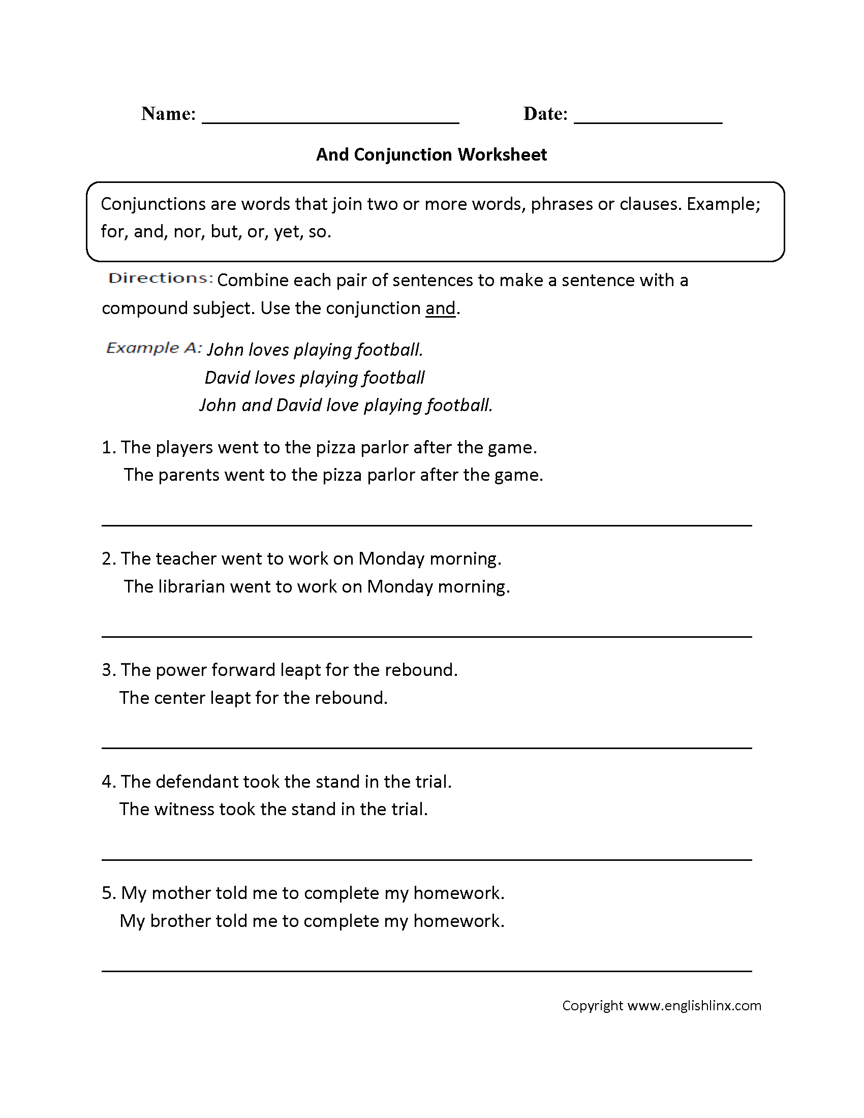 Printables Free Parts Of Speech Worksheets grammar worksheets parts of speech conjunction worksheets