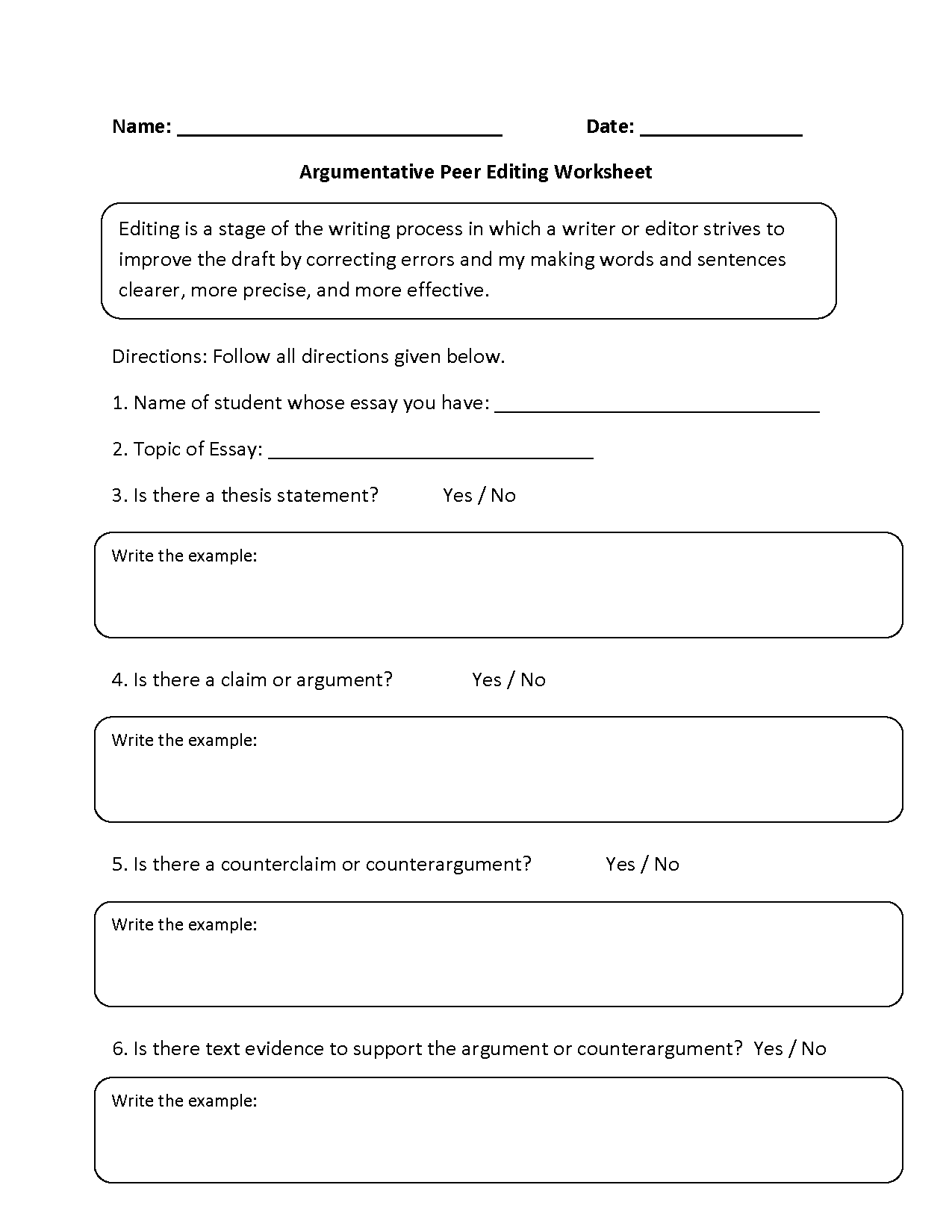 writing an argumentative essay worksheets