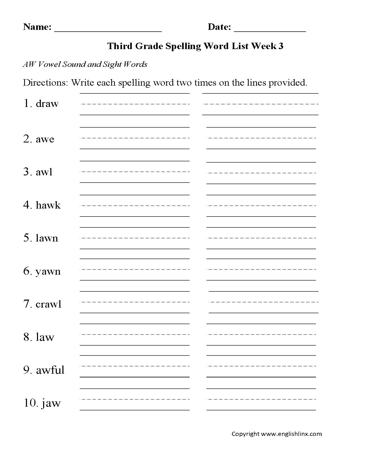 Spelling Worksheets | Third Grade Spelling Worksheets