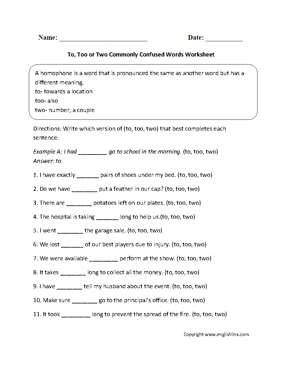 Commonly Confused Words Worksheets – To Too Two Worksheet